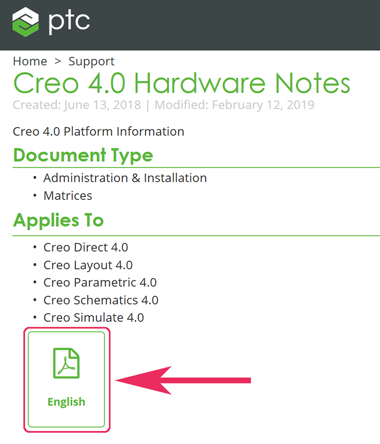 PTC Creo 4.0 Hardware Notes