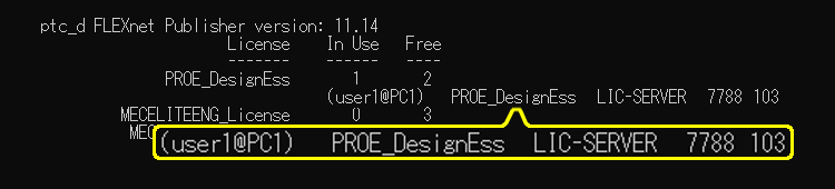 ptcstatus.batを実行した結果の画面