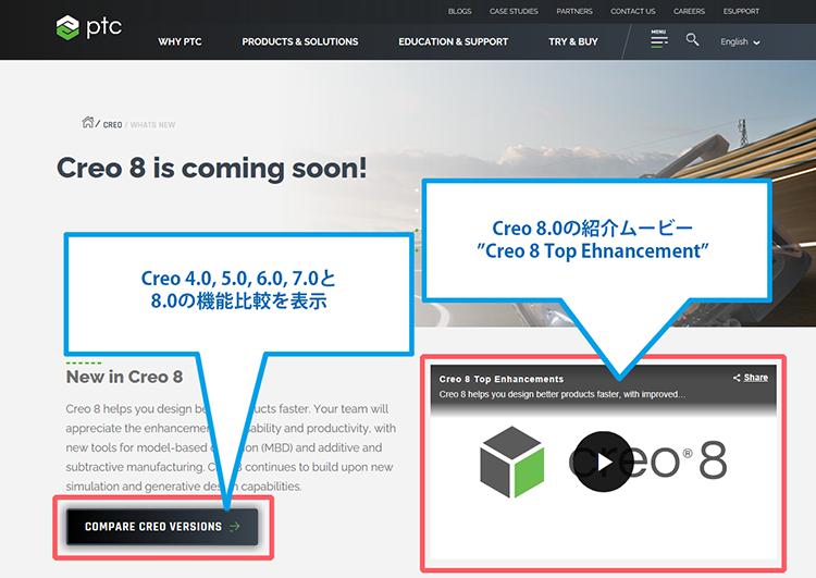 PTC Creo 4.0 の内蔵ブラウザに表示されたCreo 8.0が間もなくリリースページの画像